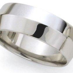 Knife Edge Wedding Band In 14K White Gold (8Mm)