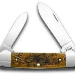 Case Xx Embellished Sawcut Antique Bone Canoe Pocket Knife Knives