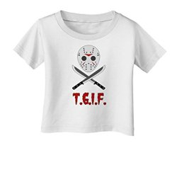 Scary Mask With Machete - Tgif Infant T-Shirt - White - 18Months