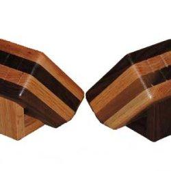 Wooden Steak Knift Slanted Block, Red Oak Top