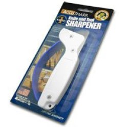 Accusharp White Handle Tungsten Carbide Pocket Knife Knives And Tool Sharpener