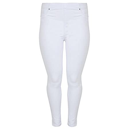 Plus size white denim pull on jeggings with pocket detail to front, one open coin pocket and two open pockets to back and an thick elasticated waistband for ease of fit and comfort. A great summer alternative to baring legs. Wear with a light blouse ...