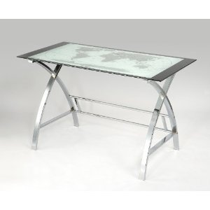 Picture of Comfortable World Map Printing Curved X-Sided Computer Desk (B004IE7JDA) (Computer Desks)