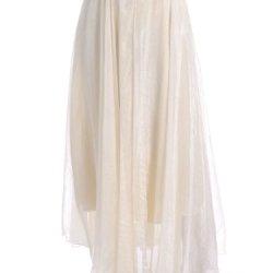 Anna-Kaci S/M Fit Beige Modern Prairie Inspired Knife Pleats Sheer Overlay Skirt