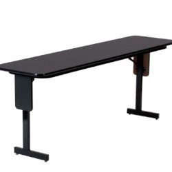 "Correll Sp1860Px 07 High Pressure Laminate Classroom, Training And Seminar Panel Leg Folding Table, Rectangular, 18"" Width X 60"" Length, Seats 2, Black Granite"