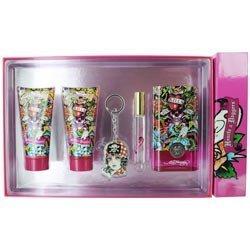 Christian Audigier Ed Hardy Hearts & Daggers Gift Set Eau De Parfum Spray 3.4 Oz & Shimmering Body Lotion 3 Oz & Shower Gel 3 Oz & Eau De Parfum Rollerbal .34 Oz Mini & Key Chain 5 Pcs