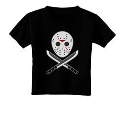 Scary Mask With Machete - Halloween Toddler T-Shirt Dark Black - 3T