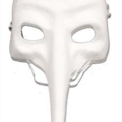 Redskytrader Mens Plain Paper Mache Zanni Craft Mask One Size Fits Most White
