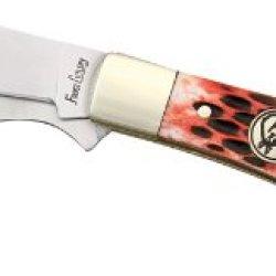 Frost Hoof & Hay Ii Folding Knife,Stainless Clip Blade, Red Pick Bone Handle 18241Rpb