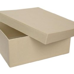 Paper Mache Square Box 7 1/2 In. Vanilla By Craft Pedlars