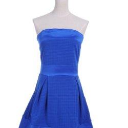 Anna-Kaci S/M Fit Blue Strapless Quilt Pattern Knife Pleats Satin Trim Dress