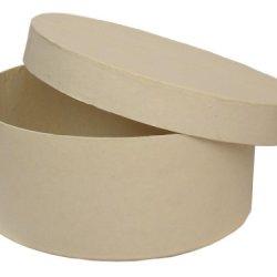 Paper Mache Round Box 7 1/2 In. Vanilla By Craft Pedlars
