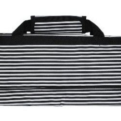 Messermeister 8-Pocket Padded Knife Roll, Black With White Stripes