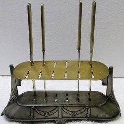 Stunning 5 Pcs 19Th Century German Antique Victorian Silver Knife Holder Set