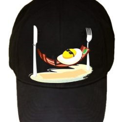 """Good Morning"" Egg Sunny Side Up Relaxing In Bacon Hammock - 100% Adjustable Cap Hat"