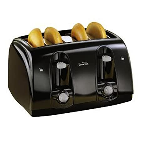 Toast a wide variety of breads with the Sunbeam 4-slice toaster in a sleek black exterior. The extra-wide slots allow you to toast bagels, sliced bread, and all other types and sizes of breads.  Separate toast controls allow for simultaneous toasting...