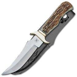 Imitation Stag Hunter Knife! Leather Sheath Included!