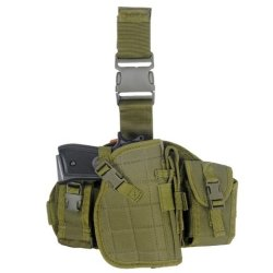 Armstac® Molle Platform Drop Leg Holster [S4] Pistol Holster With Molle Pouches, Quick Detach Release Buckle, Adjustable Straps, In Od Green Color + Armstac® Lifetime Warranty & Tech Support