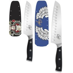 Guy Fieri Gourmet 2-Piece Triple Riveted Santoku Knife Set
