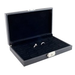Caddy Bay Collection Wide Slot Jewelry Ring Display Storage Case With Lock, Holds 24 Rings