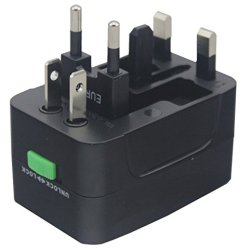 Otravel All In One Universal Worldwide Travel Wall Charger Ac Power Au Uk Us Eu Plug Adapter (Black)