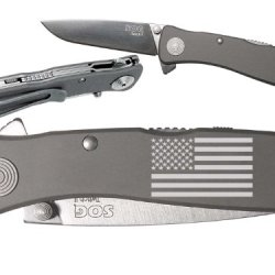 Us United States Flag Custom Engraved Sog Twitch Ii Twi-8 Assisted Folding Pocket Knife By Ndz Performance
