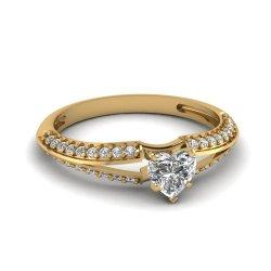 Fascinating Diamonds Delicate Knife Edge Engagement Ring 0.70 Ct Heart Shape Diamond Si1-D Color 14K Gia