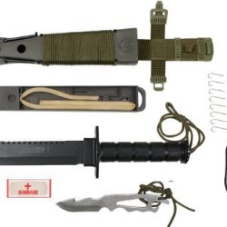 Black Jungle Survival Knife Kit W/ Olive Drab Cord