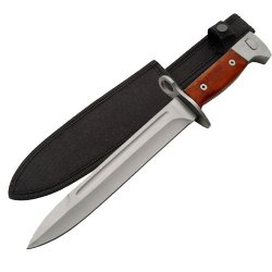 World War Ii Bayonet Knife With Wood Handle & Custom Sheath