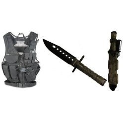 Ultimate Arms Gear Stealth Black Lightweight Edition Tactical Scenario Military-Hunting Assault Vest W/ Right Handed Quick Draw Pistol Holster + Acu Army Digital Camo Camouflage Lightweight Cut Stealth Black M9 M-9 Military Survival Blade Bayonet Knife Wi