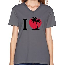 Goldfish Women'S Fans Brand New Love Palm Trees Island T-Shirt Deep Heather Us Size S