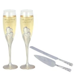 Thanh 39'S Engraved Heart Crystal Wedding Champagne Flutes And Serving Set
