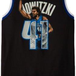 Nba Men'S Dallas Mavericks Dirk Nowitzki #41 Notorious Jersey (Black/Royal/White, X-Large)