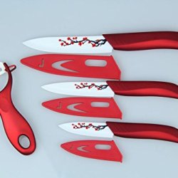 "Global Quality Ceramic Knife Set Kitchen Knives Red 3"" 4"" 5"" Inch With Peeler Paring Fruit Utility Chef Craving Plum Blossom"