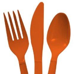 Orange Plastic Utensils, 48-Ct. Packs (16 Forks, 16 Spoons & 16 Knives)