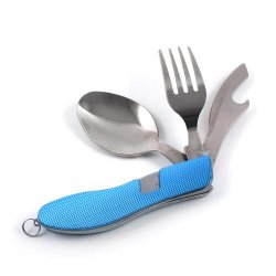 3 In 1 Outdoor Fork Knife Spoon Survival Kit Blue For Camping