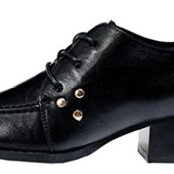 Index Women'S Design With Rivet Low-Heels Closure Lace-Up Shoes (6 B(M) Us, Black)