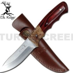 "Er-130 Elk Ridge Hunting Knife Burl/Pakkawood 5Afizd5Bl8 Wood Handle O1Pbh62Lu 8.5"" Overall Ayeuiu56 Hlbv23Rt Elk Ridge Hunting Knife. Uqdebro 440 Stainless Steel Blade. Burl Wood And Ucrcgk Pakkawood Handle. 8.5"" Overall With Leather Case"
