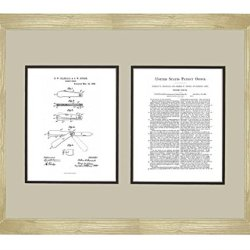 "Pocket Knife Patent Art White Matte Print In A Natural Raw Wood Frame (16"" X 20"")"