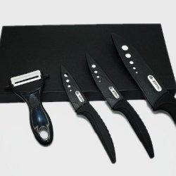 "4Pcs Gift Set Ceramic Knife Set Peeler +3""/4""/6""+Gift Box , 2 Colors Curve Handle,White Blade Black By Coolshiny"