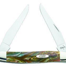 Case Cutlery 9200Ab Abalone Muskrat Corelon Pocket Knife With Stainless Steel Blades, Gold/Gray/Pink