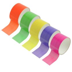 Set Of Neon Colored Duct Tape - 10 Ft Per Roll - Green, Pink, Yellow, Orange, And Purple - Great For Arts And Crafts