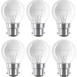 Eveready 6 X 60W Classic P Mini Globes Clear Round Light Bulbs, Bayonet Cap (Bc) B22 B22D, Golf Ball Incandescent Dimmable Lamps, 640 Lumen, Mains 240V - [Eu Specification: 220-240V]