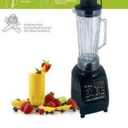 Dr Tech 3Hp High-Performance Commercial Electronic Blender Personal Multi-Function Mixer , Black And Silver, Power Elite, With Stainless Steel Blade (Silver)