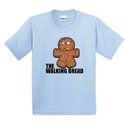 Gingerbread Zombie Youth T-Shirt Large Light Blue