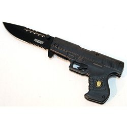 "New 8"" Spring Assisted Gun Style Knife With Belt Clip"