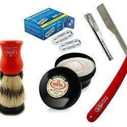 Hot Lather Shave With Barber Razor Folding Knife Vintage Shaving Set + Personna Blades + Omega Shaving Brush + Omega Shaving Cream