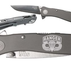 Airborne Ranger Custom Engraved Sog Twitch Ii Twi-8 Assisted Folding Pocket Knife By Ndz Performance