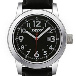 Zippo Casual Watch With Black Dial And Leather Strap, Black