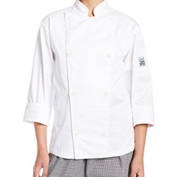 Chef Revival Lj027 Poly Cotton Ladies Knife And Steel Long Sleeve Jacket With White Chef Logo Button, Large, White